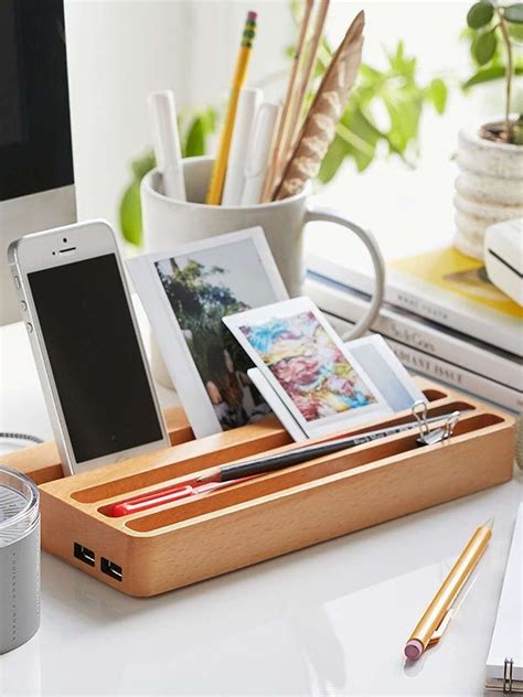 desk l with charging station wooden charging station with two usb ports and integrated