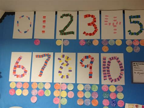 paper number collage decor kindergarten activities