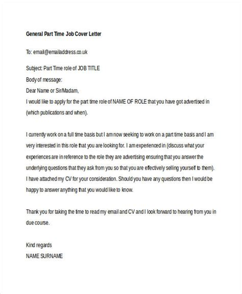 Exle Cover Letter Part Time by Cover Letter For A Part Time 10348
