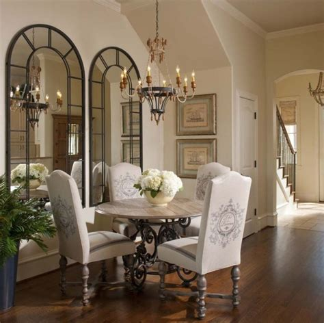 creatively arranged decorative mirrors  dining room