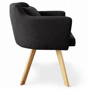 Fauteuil Chaise Scandinave : chaise fauteuil scandinave lago tissu noir coin du design ~ Melissatoandfro.com Idées de Décoration