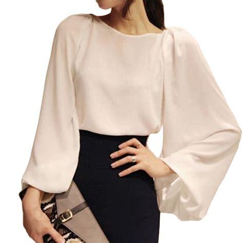 white blouse sleeve autumn 2015 white blouse blusa chiffon office