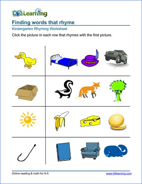 free preschool kindergarten rhyming worksheets