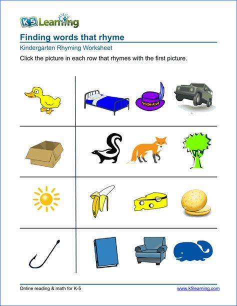 Free Preschool & Kindergarten Rhyming Worksheets  Printable  K5 Learning