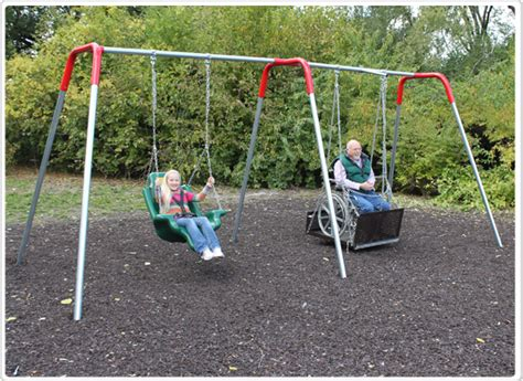 handicap swing accessible swing set with seat and platform