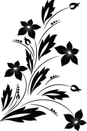 clipart   black  white floral vine design element