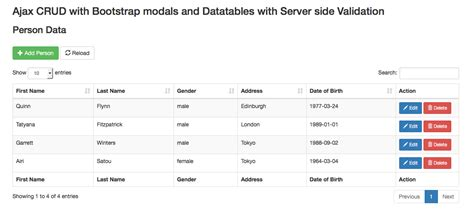 datatable search by datepicker server side codeigniter server side ajax crud modal with validation