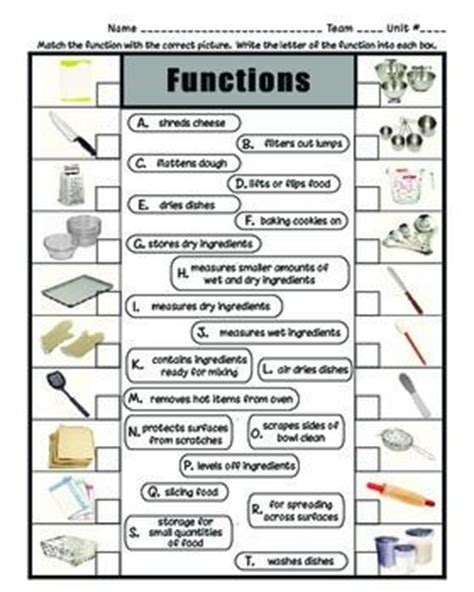 Kitchen Equipment Worksheet Answers by Chef S Equipment Functions Worksheets And Students