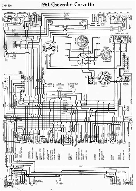 1971 Chevy Starter Wiring Diagram by Wiring Diagram For 1961 Chevrolet Corvette Circuit