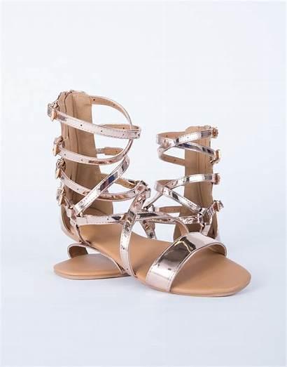 Gladiator Sandals Metallic Gold Rose Shoes Pink