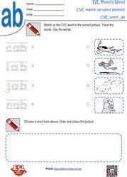 cvc word  picture matching worksheets cvc worksheets