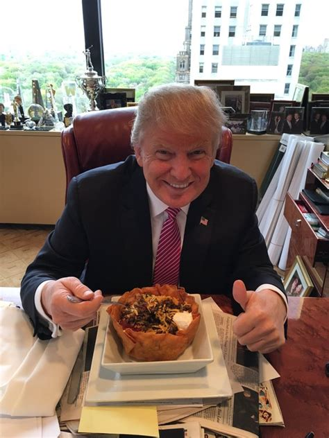 trump donald eating taco food salad