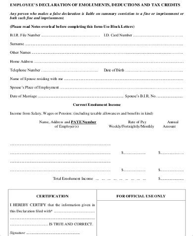 sample employee declaration form  examples  word