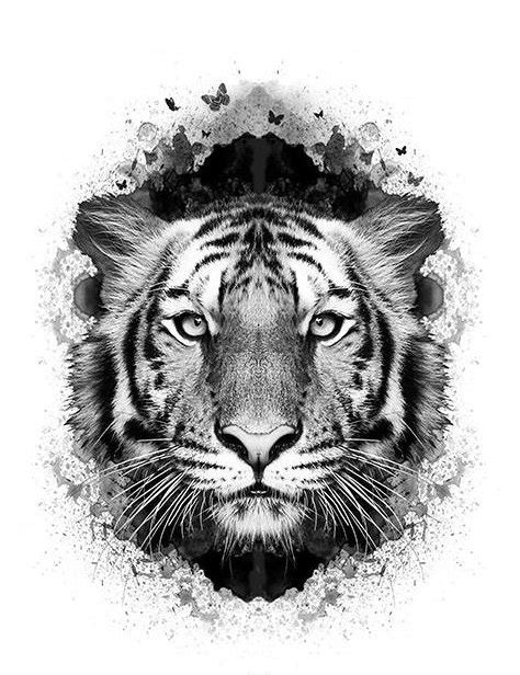 Realistic tiger head in black butterfly hole tattoo design
