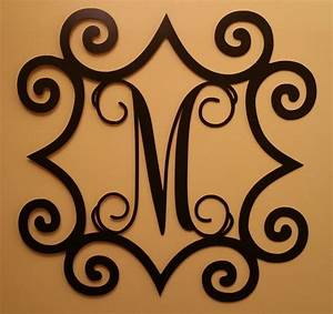 Single initial steel monogram with wrought iron inspired for Wrought iron monogram letters