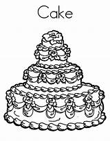 Cake Coloring Pages Beuatiful Cakes Getdrawings Colorings sketch template