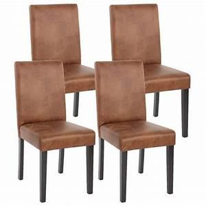 Lot de 4 chaises de salle à manger simili cuir marron vieilli pieds foncés CDS04150 Achat