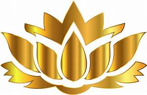 Clipart - Gold Lotus Flower Silhouette No Background