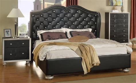 glam black crystal tufted leather bed