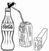 Coloring Cola Coca Bottle Drinks Drink Soft Bottles Popular Glass Template sketch template