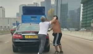 Fist fight erupts on busy Hong Kong highway as truck and ...