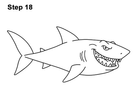 draw  shark cartoon video step  step pictures