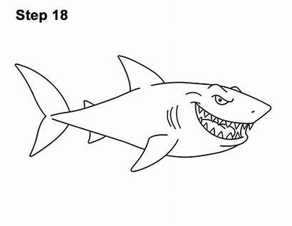 Shark Cartoon Draw Step Drawing Lines Pen