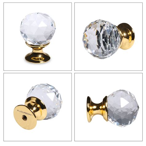 5x25mm door knob golden clear crystal glass pulls handle drawer cabinet cupboard