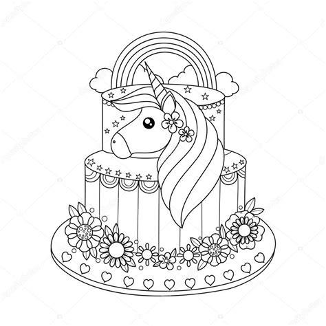 Unicorn Cupcake Kleurplaat by Unicorn Cake Coloring Book Vector Illustration