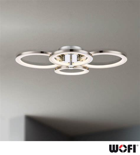 wofi surrey 4 light led flush ceiling light matt nickel