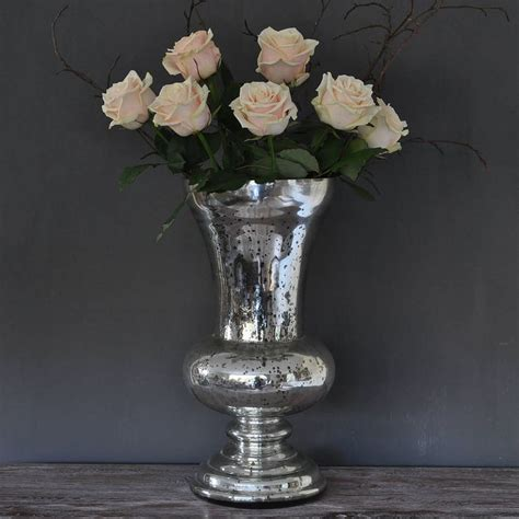 large antique silver urn vase by primrose & plum