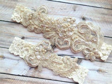 gold lace garter set ivory lace bridal garter