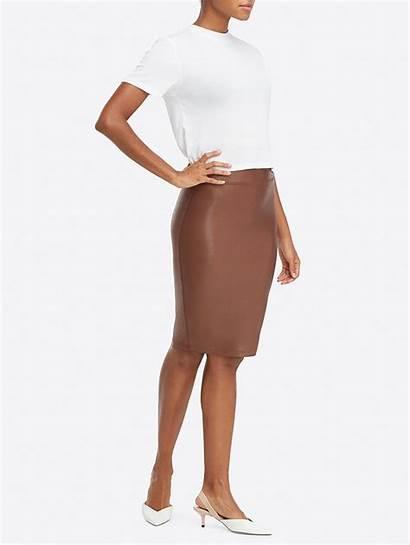 Skirt Pencil Leather Faux Spanx Shape