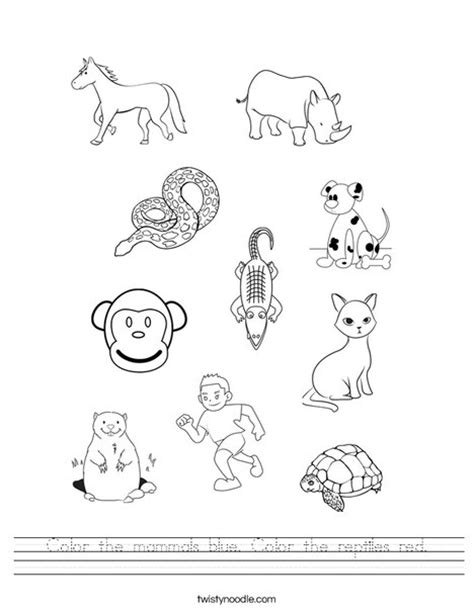 color the mammals blue color the reptiles worksheet