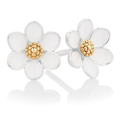 white enamel sterling silver ct yellow gold daisy