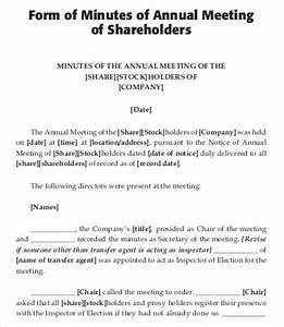annual meeting minutes template 6 free word pdf With minutes of shareholders meeting template