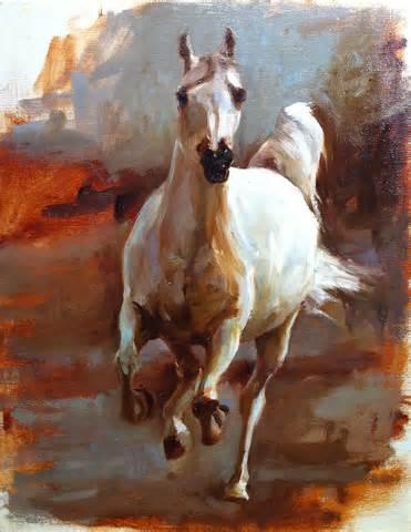 Oil Paintings of White Horse Running