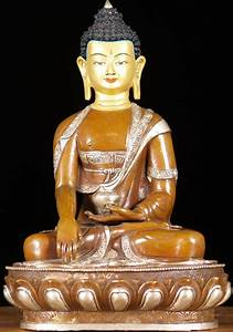 "Copper Earth Touching Buddha 13"" (#61ns100): Hindu Gods"