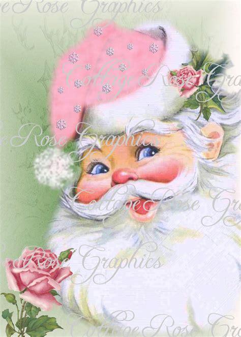 shabby chic santa pink shabby retro santa and roses large digital download ecs