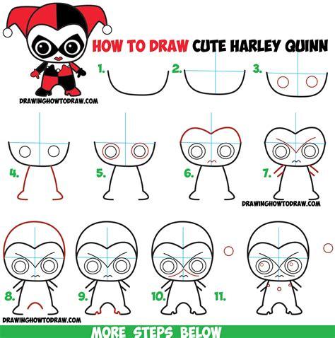 draw cute chibi harley quinn  dc comics  easy