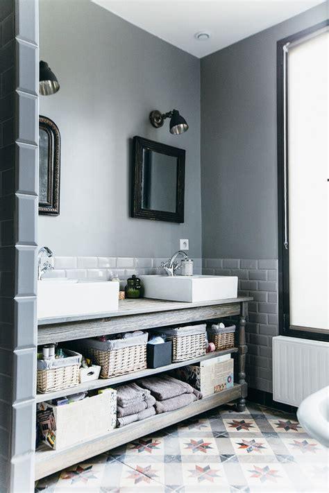carreau salle de bain nuances de bleu style industriel frenchy fancy