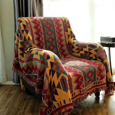 Blanket Cover by Chausub Bohemian Chunky Cotton Plaid Blanket Home Sofa