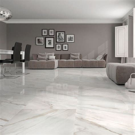 Large White Kitchen Floor Tiles by Calacatta White Gloss Floor Tiles An Attractive