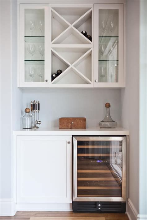 Wine Cupboards by Chic White Bar Offers Built In Wine Storage Home