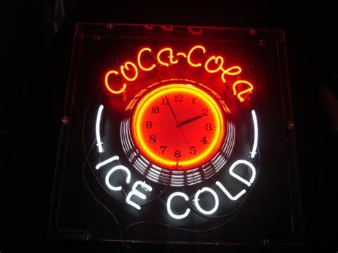 coca cola clock neon sign