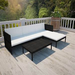 Rattan Lounge Set : vidaxl black outdoor poly rattan lounge set three seat sofa ~ Orissabook.com Haus und Dekorationen