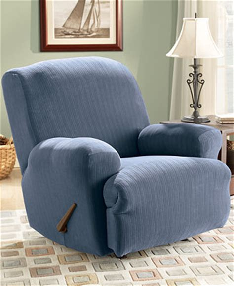 macys sofa covers sure fit stretch pinstripe recliner slipcover slipcovers