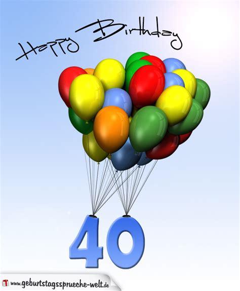 Ein schönes geburtstagsbild entsteht nicht nur bei der geburtstagsfeier. Geburtstagskarte mit Luftballons zum 40. Geburtstag ...