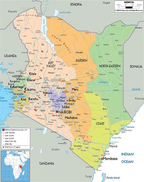large political  administrative map  kenya  roads