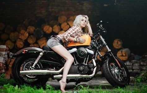 Обои девушка, Харлей, мотоцикл, Harley Davidson, байк